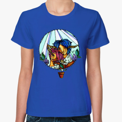 Женская футболка Пара с розово-голубыми волосам