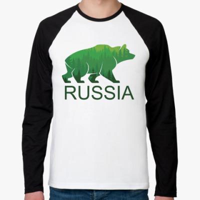 Футболка реглан с длинным рукавом Россия, Russia