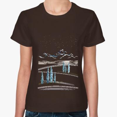 Женская футболка Снежные горы и кипарисы