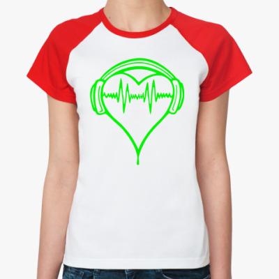 Женская футболка реглан Музыка в ритме сердца