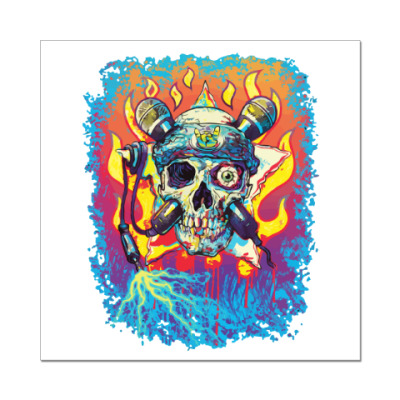 Наклейка (стикер) Music Skull