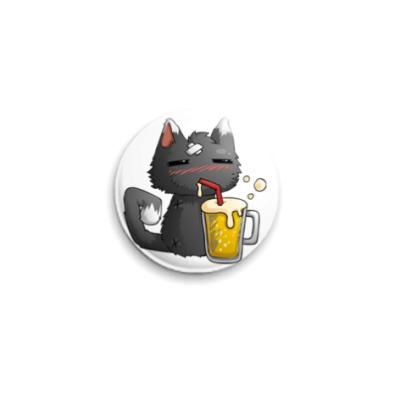 Значок 25мм Пьющий кот