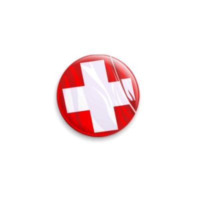 Значок 25мм флаг швейцарии