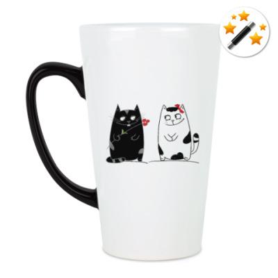 Кружка-хамелеон кот и кошка