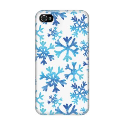 Чехол для iPhone 4/4s Фактурные снежинки