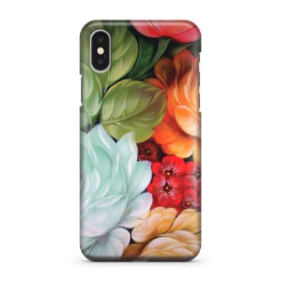 Чехол для iPhone X Русские цветы