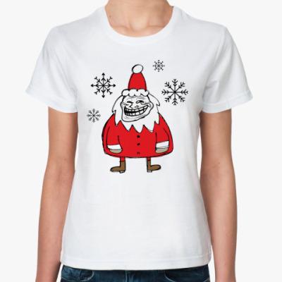 Классическая футболка Trollface Santa