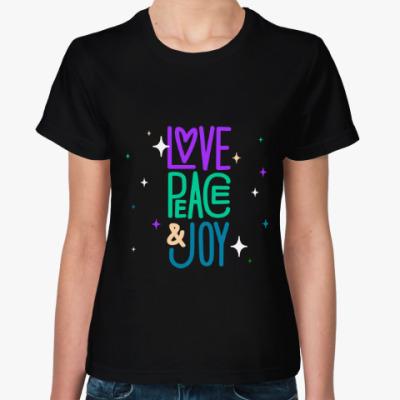 Женская футболка Love, peace, joy
