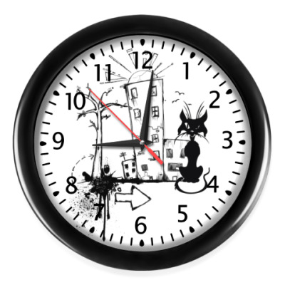 Настенные часы 'Черный Кот'