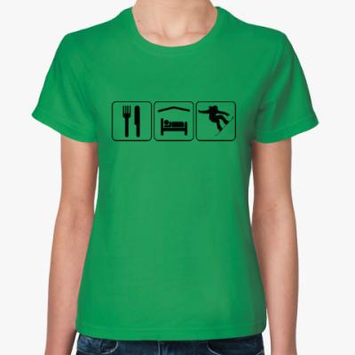 Женская футболка Ешь Спи Сноуборд