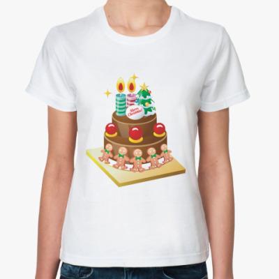 Классическая футболка Рождественский торт