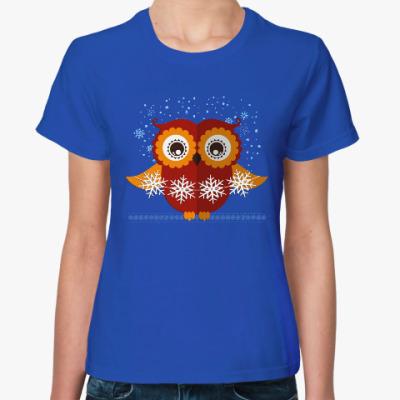 Женская футболка Сова со снежинками