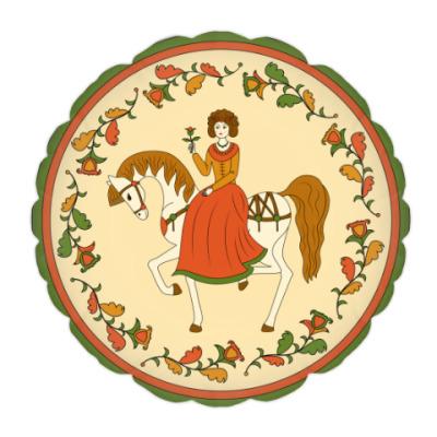 Подушка Девушка на лошади. Русский орнамент