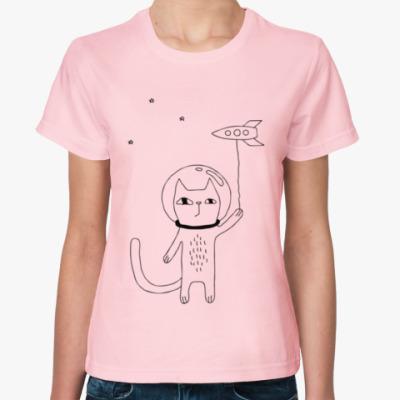 Женская футболка Котик и космос