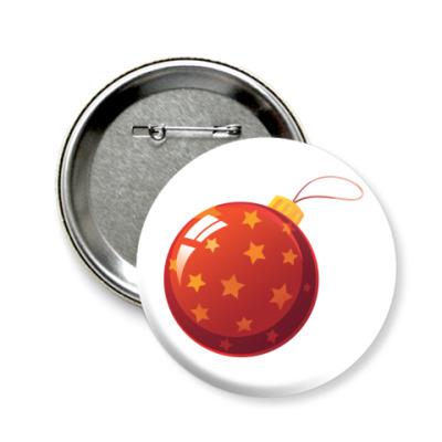 Значок 58мм Елочный шар