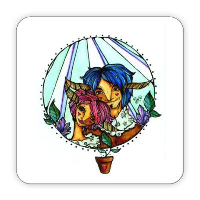 Костер (подставка под кружку) Пара с розово-голубыми волосам