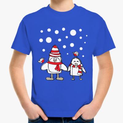 Детская футболка Пингвины и снегири в Новый год