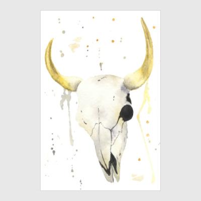 Постер Декоративный череп коровы