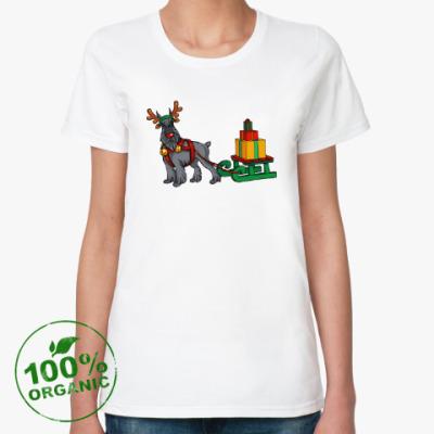 Женская футболка из органик-хлопка Новогодний Шнауцер