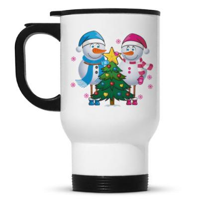 Кружка-термос Парные. Снеговик. Любовь. Зима