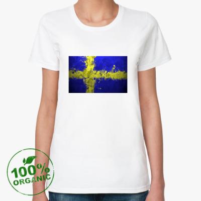 Женская футболка из органик-хлопка  'Шведский флаг'