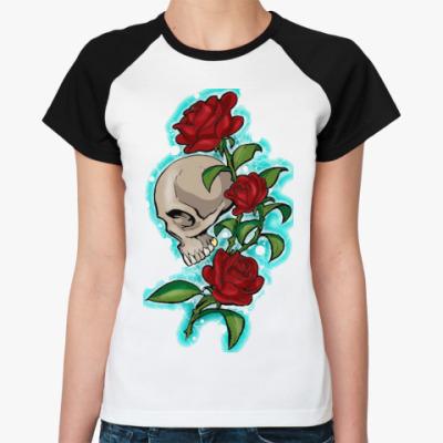 Женская футболка реглан череп и розы