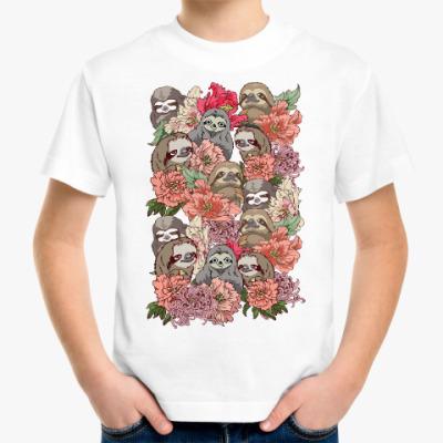 Детская футболка Ленивцы в цветах