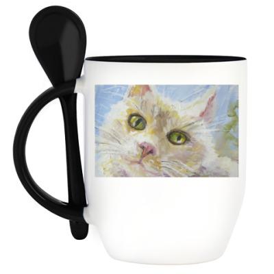 Кружка с ложкой Нежный котик