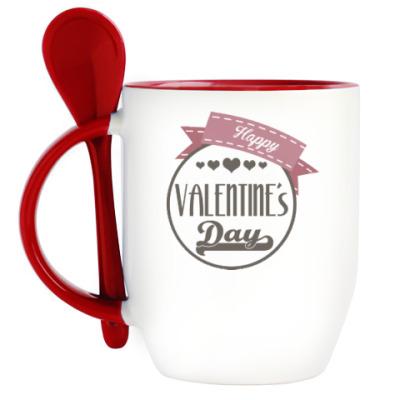 Кружка с ложкой Happy Valentine's Day