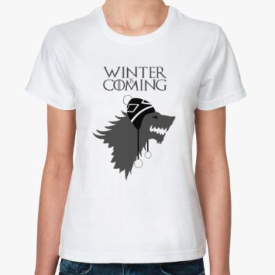 Классическая футболка Игра престолов-лютоволк в шапке