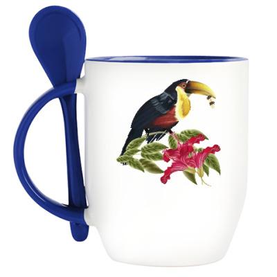 Кружка с ложкой Тропическая птица