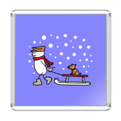 Магнит Снеговик и Собака в Новый год