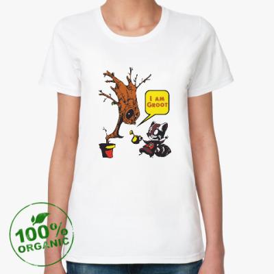 Женская футболка из органик-хлопка Groot and Rocket Raccoon
