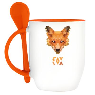 Кружка с ложкой Fox Pixel