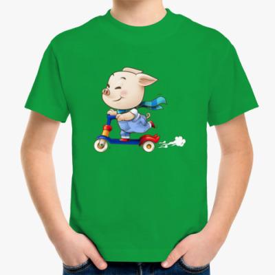 Детская футболка Хрюндель на самокате
