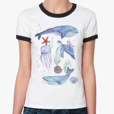 Женская футболка Ringer-T Акварельный подводный мир