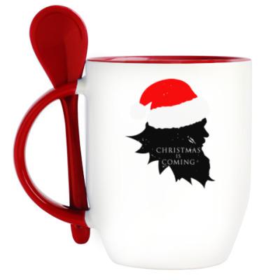 Кружка с ложкой Christmas is coming