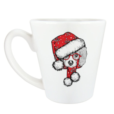 Чашка Латте Собака Санта