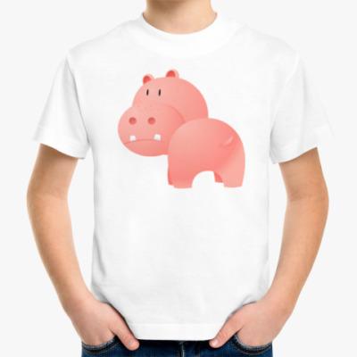 Детская футболка Розовый Бегемотик