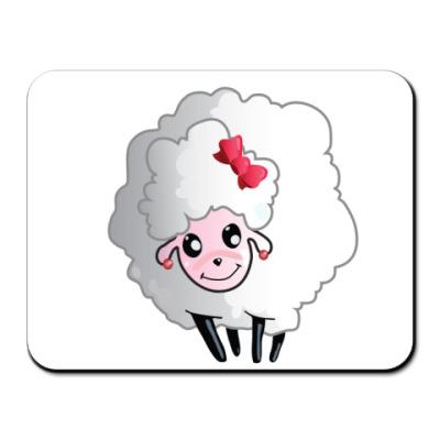Коврик для мыши овечка  с бантиком