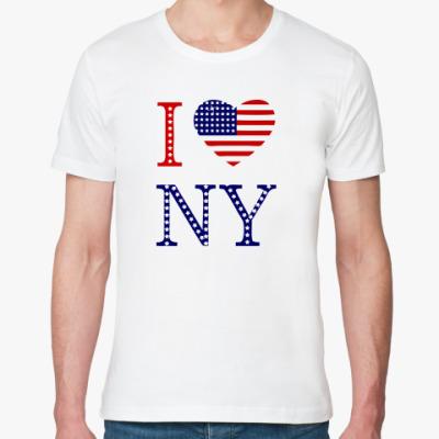 Футболка из органик-хлопка I Love NY -американский флаг
