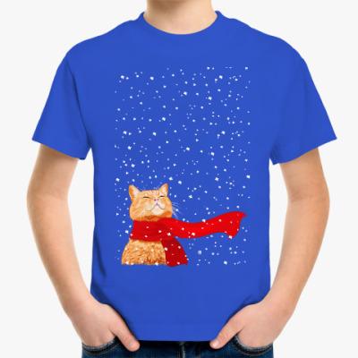 Детская футболка Новогодний котик в снегу