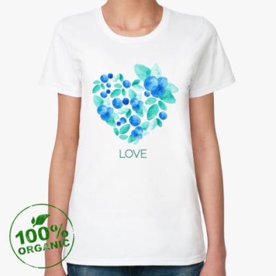 Женская футболка из органик-хлопка Акварель сердце из листьев