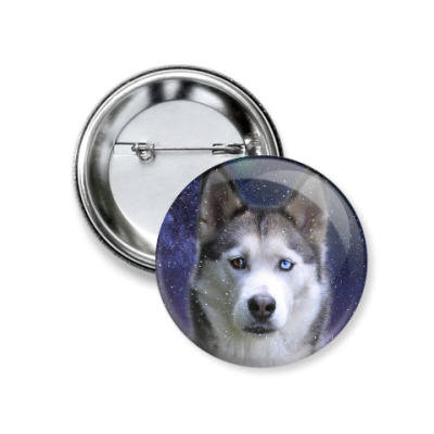 Значок 37мм Снежный пес