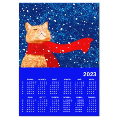 Календарь Новогодний котик в снегу