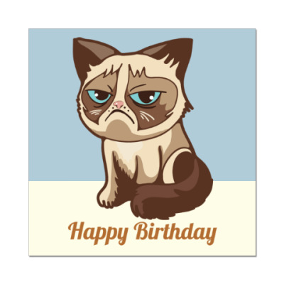 Наклейка (стикер) Угрюмый кот Тард - Grumpy Cat