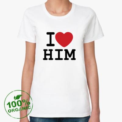 Женская футболка из органик-хлопка Романтичный принт I LOVE HIM