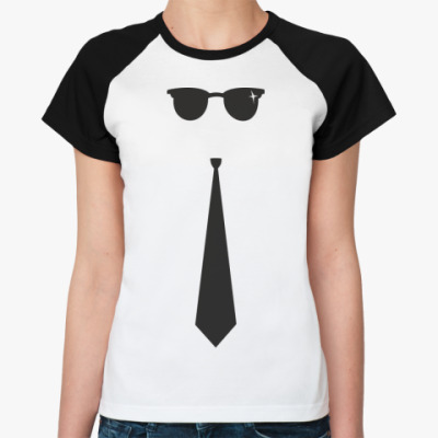Женская футболка реглан Очки-Галстук