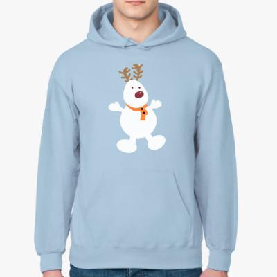Толстовка худи Олень - снеговик