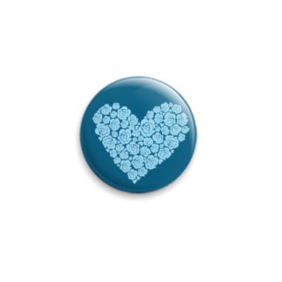Значок 25мм 'Сердце из роз'